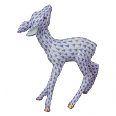 Herend Porcelain Fishnet Figurine of a Fawn Looking Up